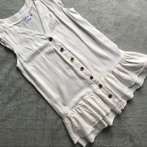 Princess Polly Rigg Mini Dress Button Ruffle White